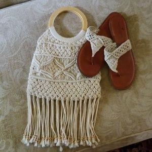 American Eagle crochet flipflops size 9 and purse